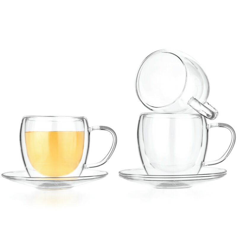 Double Wall Glasses & Saucers, Set of 4