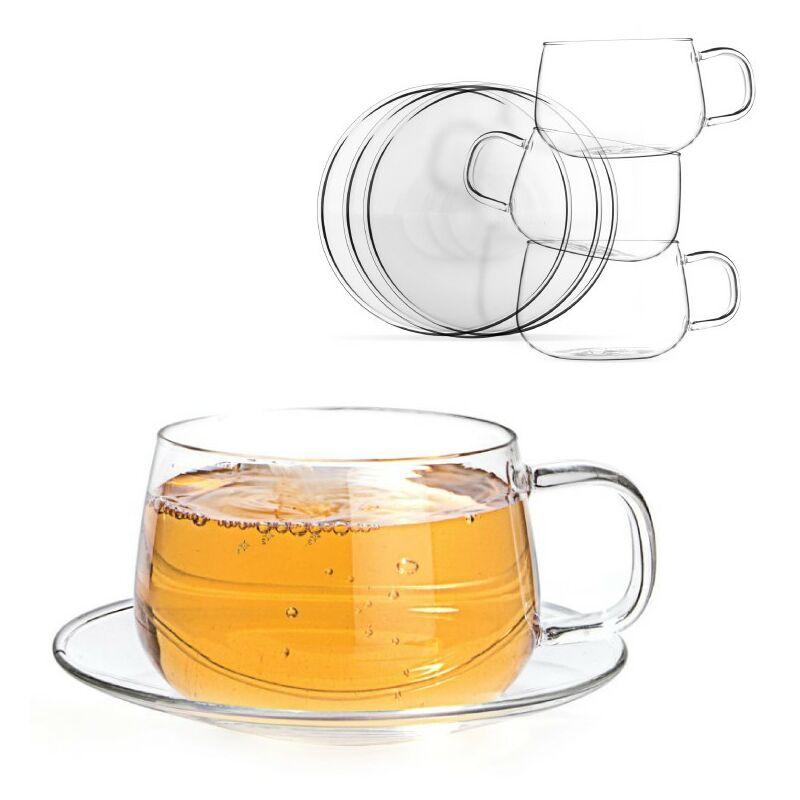 La Lune Glass Cup & Saucer, Set of 4